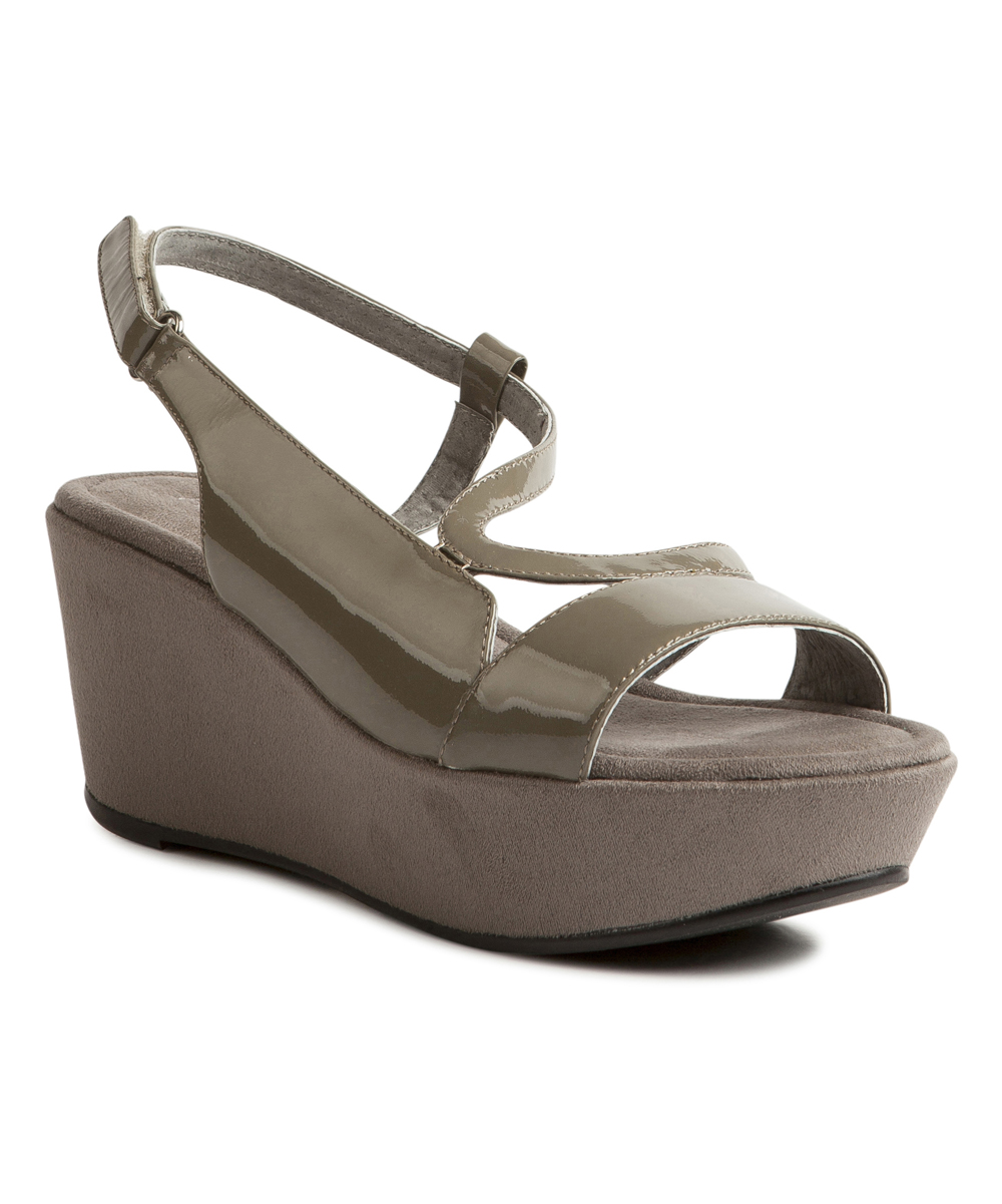 873dde0a381f Antelope Gray Patent Leather Wedge Sandal - Women