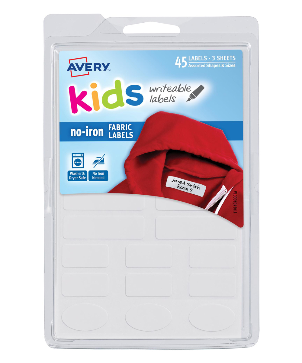 Avery  Iron-On Patches White - White No-Iron Clothing Labels - Set of 45 White No-Iron Clothing Labels - Set of 45. These adhesive labels stick easily to fabric and are durable enough to withstand the washer so your kids' clothes, backpacks and more come back home where they belong. Includes 45 labels6'' W x 4'' HMachine washImported