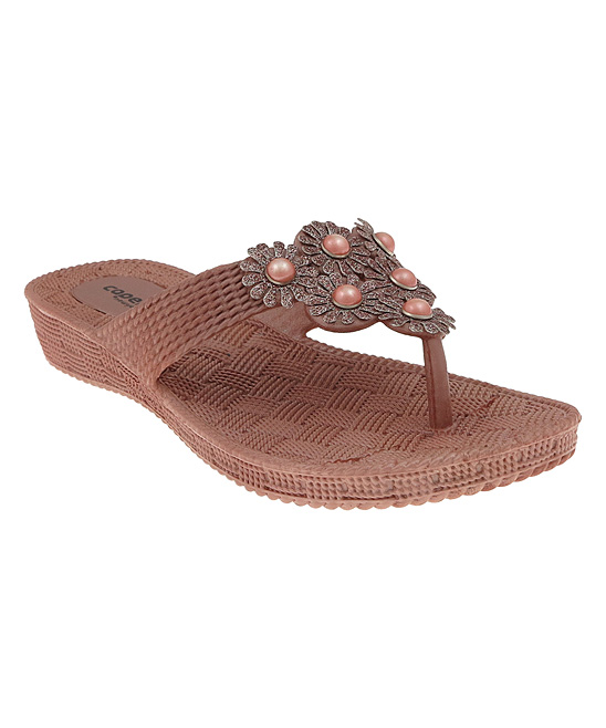 37c4e3258dde5e Capelli New York Rose Gold Glitter Flower Textured Flip-Flop - Women ...