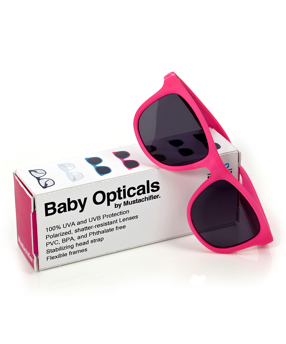 7cc01adc3b9 Mustachifier Neon Pink Polarized Baby Sunglasses
