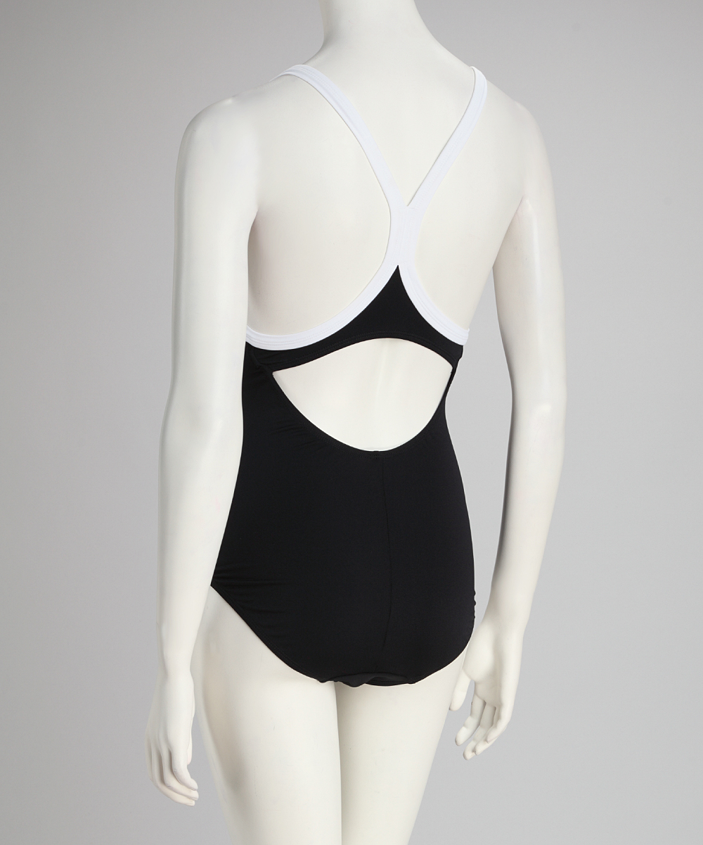 30354cd6b5 Ilant Maternity Swimwear Black & White Gathered Racerback Maternity ...