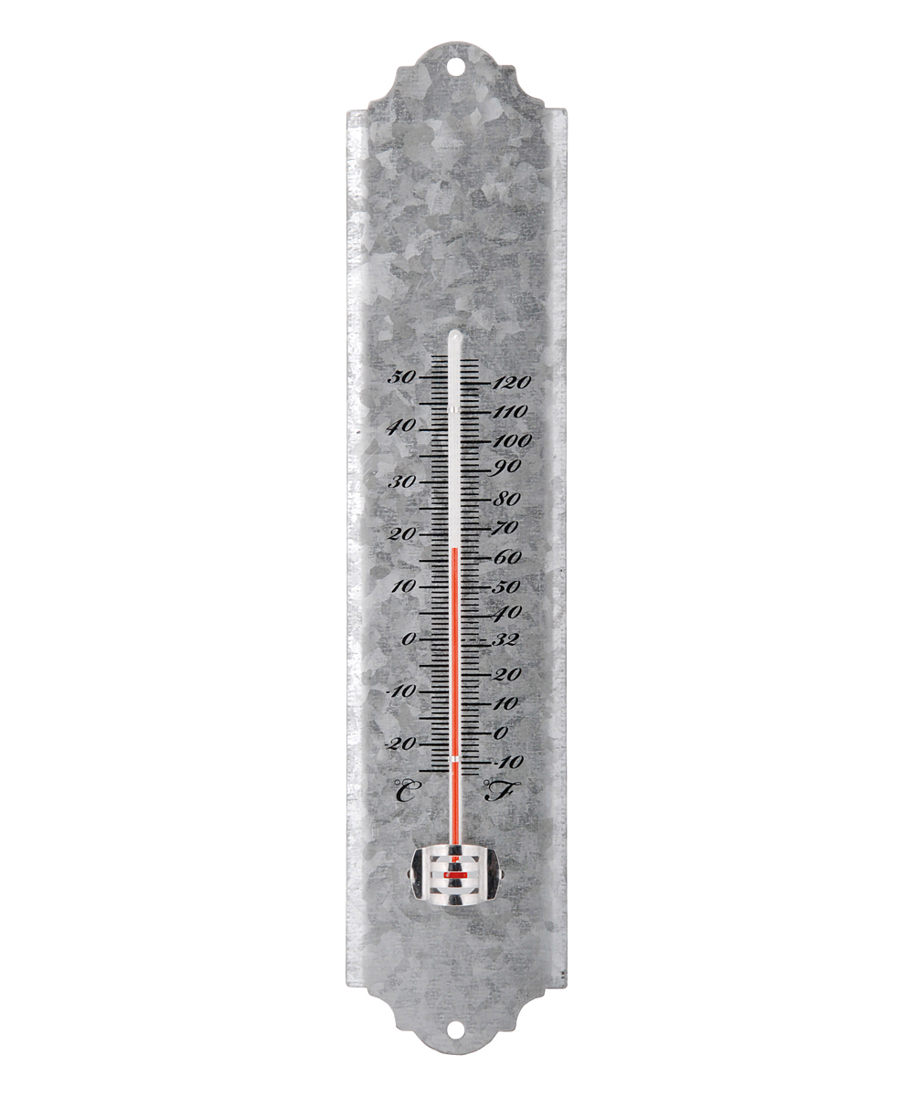 Rustic Zinc Thermometer Rustic Zinc Thermometer. This ready-to-hang thermometer provides you with accurate readings of the day's temperature. Its aged metal plate exudes a rustic appeal to decor whether placed indoors or out. 2.6'' W x 12'' H x 0.6'' DAged zinc / glass / thermometer fluidReady to hangImported