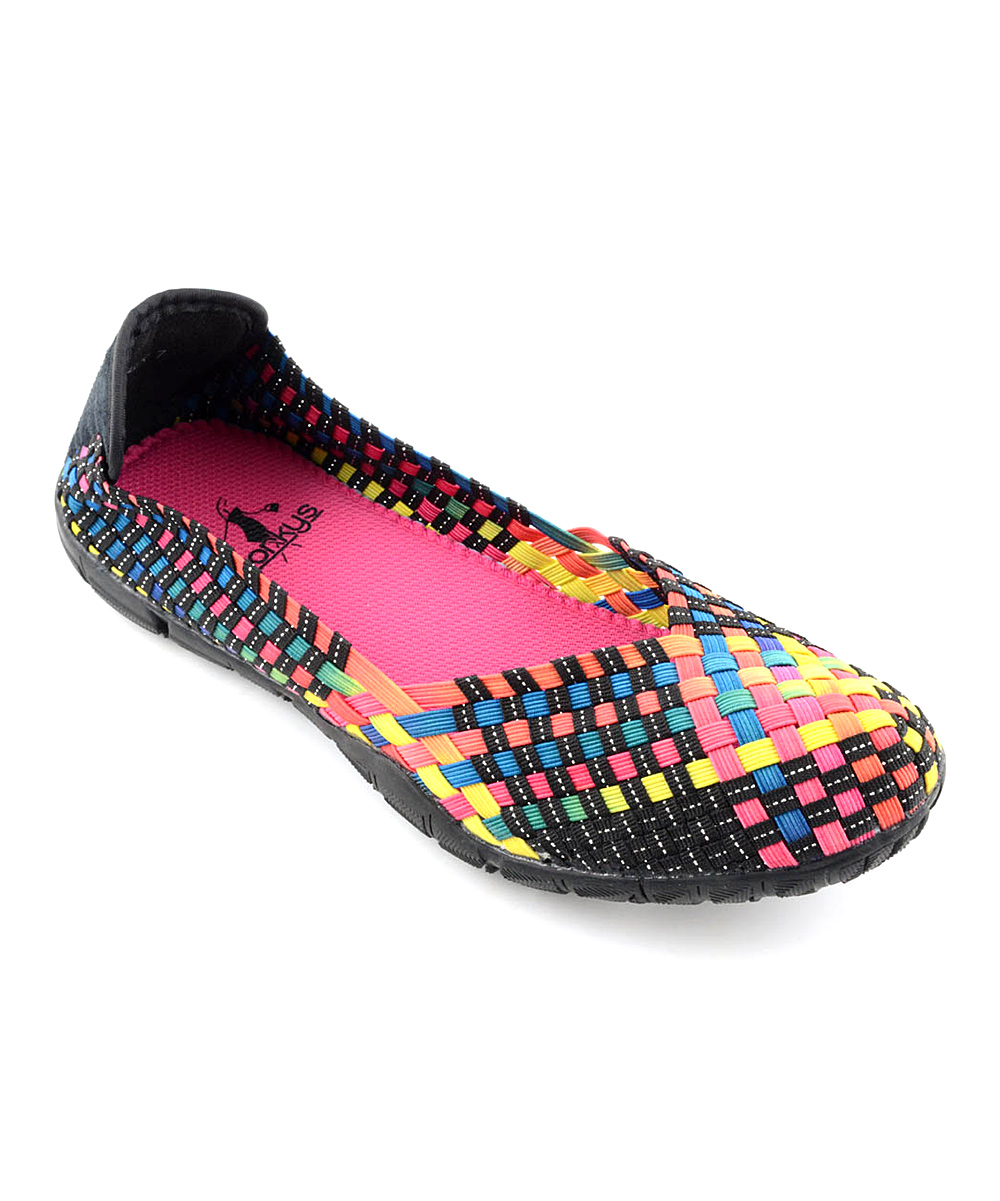 Corkys Footwear Women's Walking Shoes BLACK - Black & Fuchsia Sidewalk Flat - Women