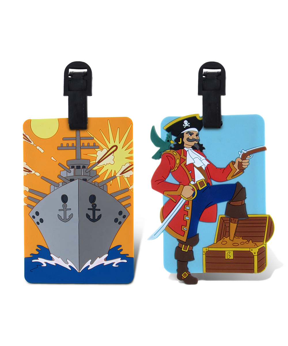 Blue Battle Ship & Captain Luggage Tags Blue Battle Ship & Captain Luggage Tags. Make it easy for little ones to spot their luggage at baggage claim with these fun tags. Includes two tags9'' W x 13'' HPVCImported