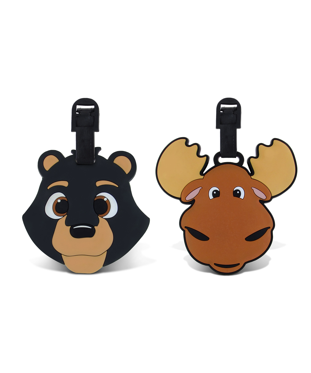 Black Bear & Brown Moose Luggage Tags Black Bear & Brown Moose Luggage Tags. Make it easy for little ones to spot their luggage at baggage claim with these fun tags. Includes two tags9'' W x 13'' HPVCImported