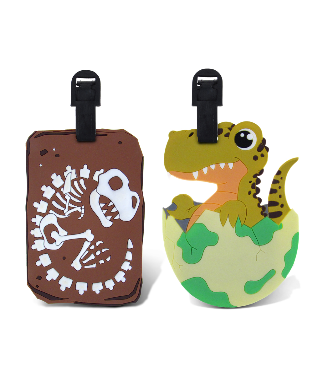Green T-Rex & Brown T-Rex Bones Luggage Tags Green T-Rex & Brown T-Rex Bones Luggage Tags. Make it easy for little ones to spot their luggage at baggage claim with these fun tags. Includes two tags9'' W x 13'' HPVCImported