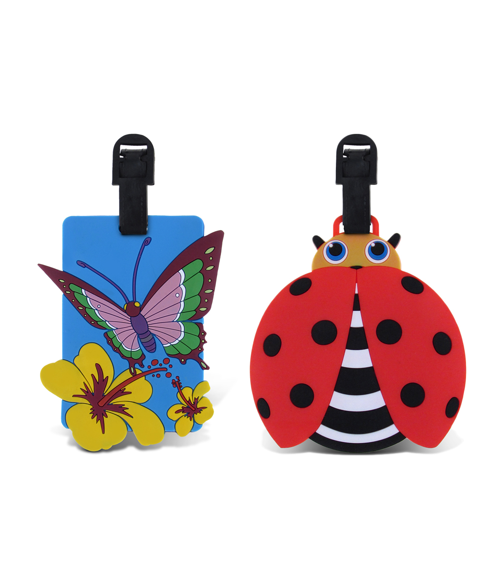 Blue Butterfly & Red Ladybug Luggage Tags Blue Butterfly & Red Ladybug Luggage Tags. Make it easy for little ones to spot their luggage at baggage claim with these fun tags. Includes two tags9'' W x 13'' HPVCImported
