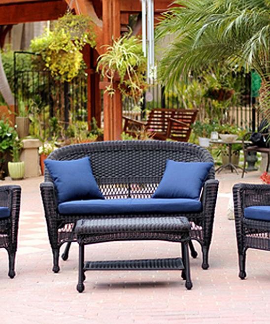 All Gone Navy Blue Black Four Piece Wicker Furniture Set