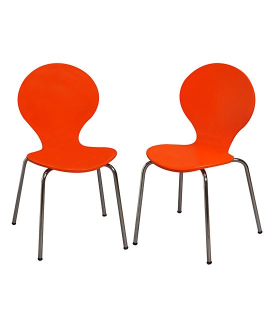 Orange Modern Children's Chair - Set of Two