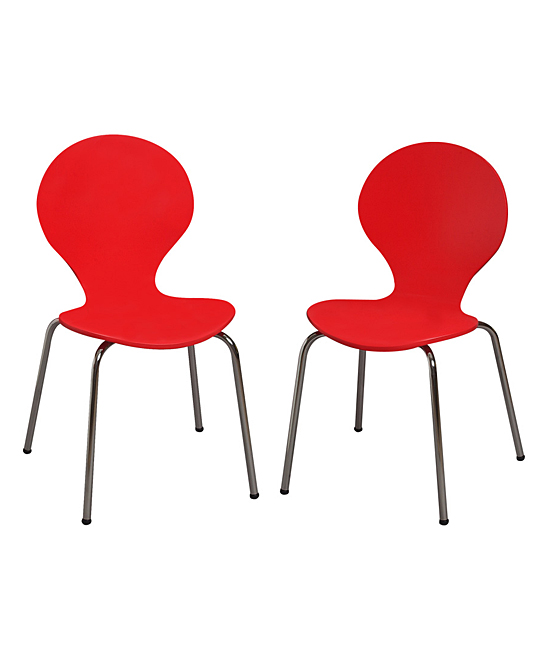Red Modern Children's Chair - Set of Two