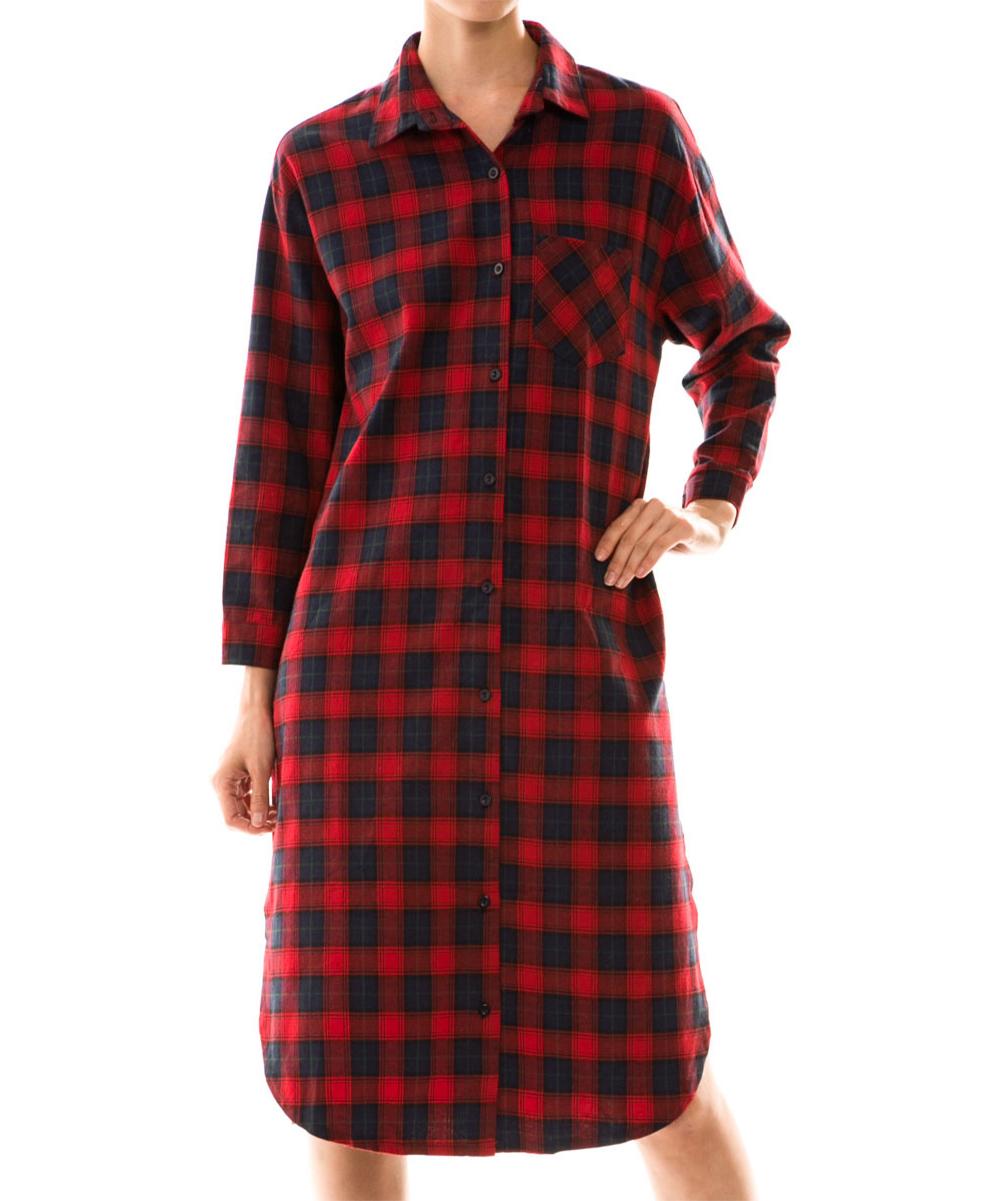 Vanilla Monkey Red Navy Plaid Shirt Dress Women Zulily