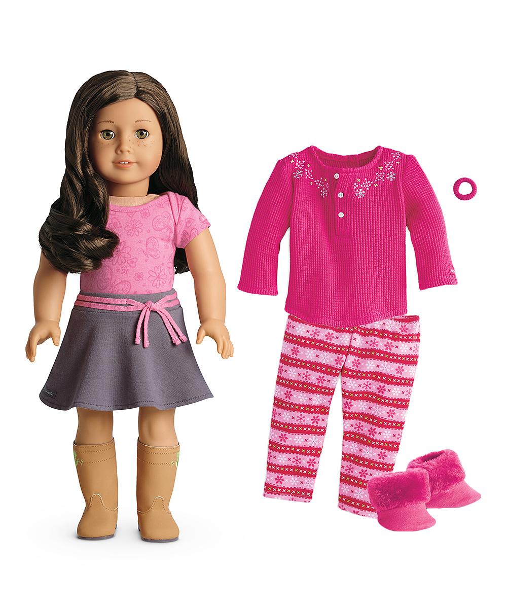 American Girl Light Skin Wavy Brown Hair Hazel Eye 18 Doll Outfit Set
