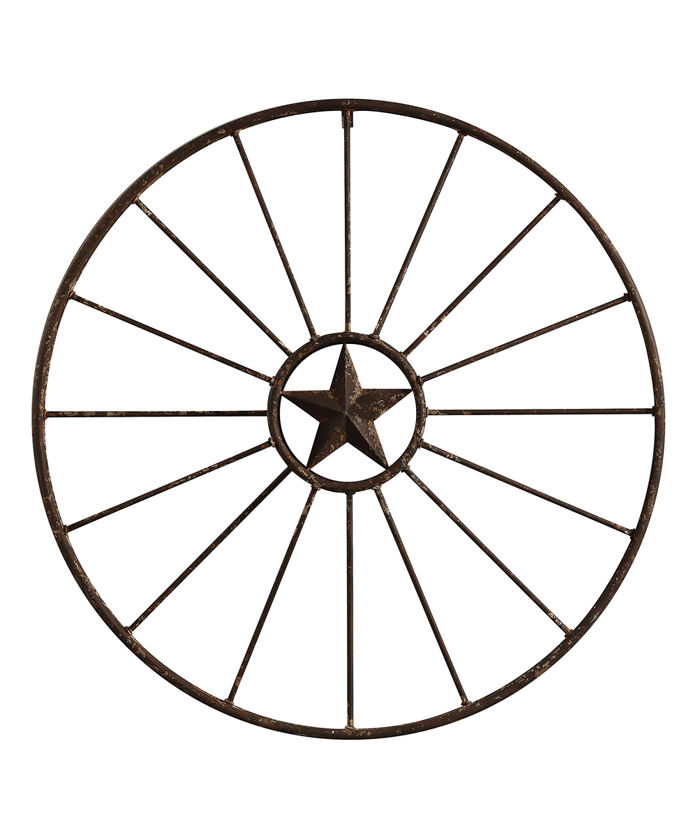 Creative Co-Op  Typography Wall Decor Brown - Wagon Wheel Wall Decor Wagon Wheel Wall Decor. Whimsically styled from distressed metal, this wall decor channels classic Americana to wash decor in rustic styling. 32.25'' diameterMetalImported