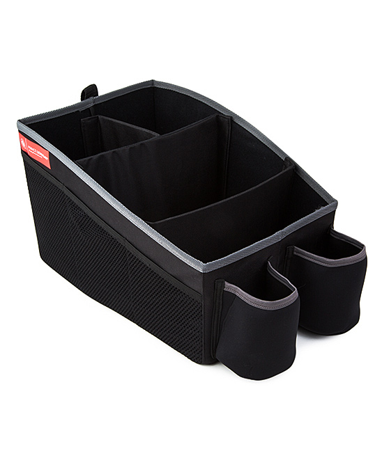 Black Travel Organizer Black Travel Organizer. Stay organized on-the-go with this versatile travel organizer. Boasting two insulated drink holders and six side pouches, this organized completely flattens when not in use for hassle-free storage. 13'' W x 9'' H x 8.5'' DPolyesterImported
