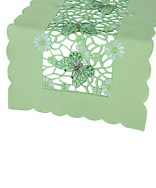 Xia Home Fashions  Runners  - Emerald Mariposa Embroidered Cutwork Table Runner
