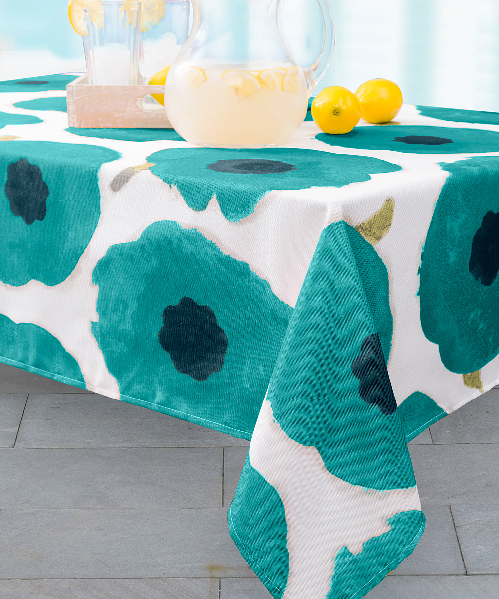 Love This Product Maya Teal Spill Proof Indoor Outdoor Tablecloth