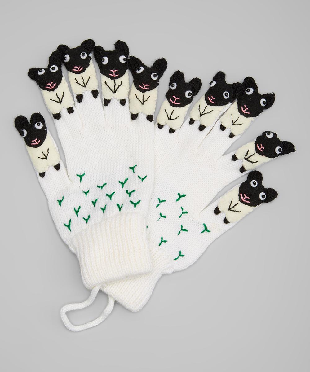 Kidorable Boys' Casual Gloves WHITE - White Sheep Gloves - Toddler & Kids