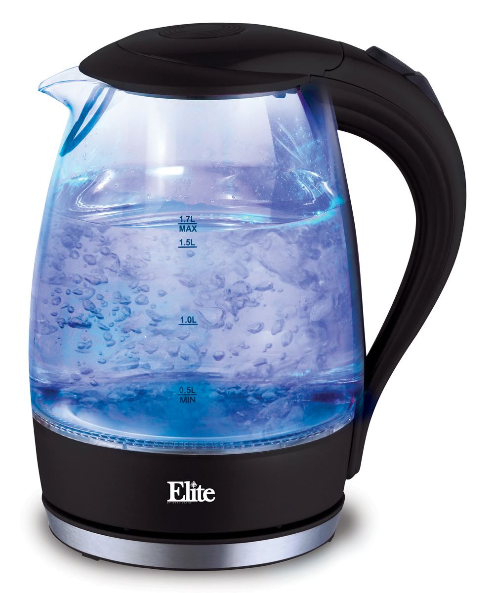 Elite Cuisine  Electric Kettles  - Black Cordless Water Kettle Black Cordless Water Kettle. Seamlessly blending elegance and functionality, this electric glass kettle makes a beautiful addition to any countertop while boiling water efficiently. 8'' W x 9.75'' H x 4.8'' DHolds 57.48 oz.Glass / plasticHand washImported