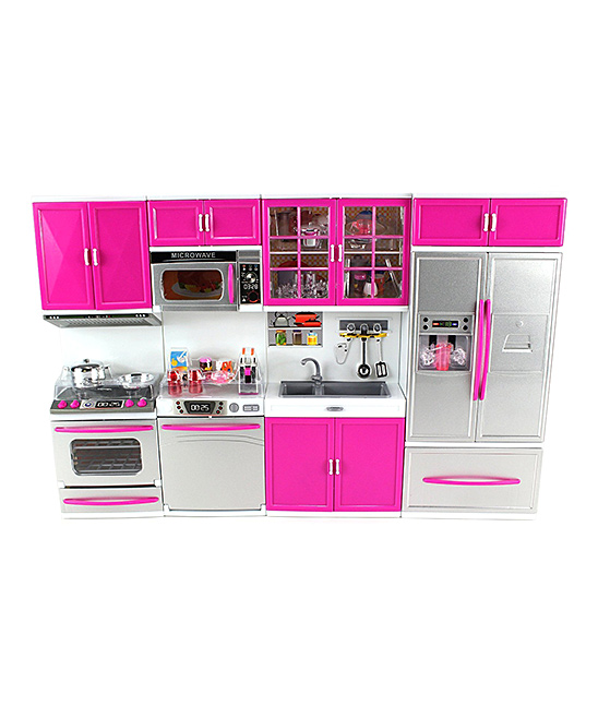 AZ Trading and Import  Doll Accessories  - My Modern Kitchen Doll Playset My Modern Kitchen Doll Playset. With sound effects and light-up appliances, this modern kitchen is a colorful way for your little ones to get creative with their dolls during playtime. Compatible with 12'' dollsPlasticRecommended for ages 3 years and upImported