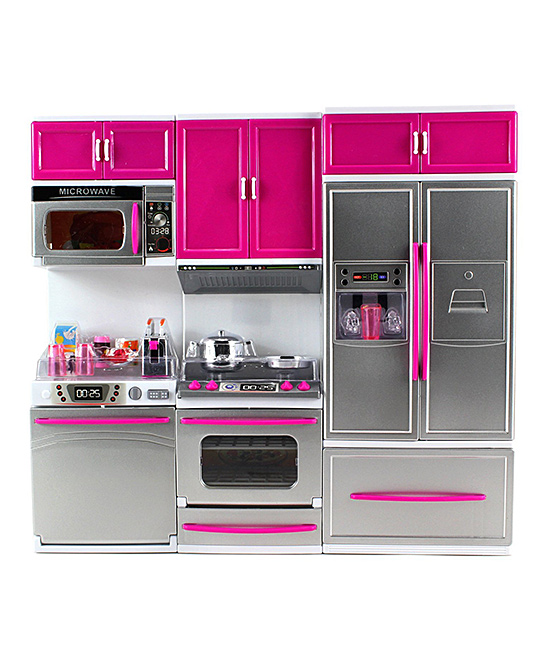 Refrigerator, Stove & Microwave Kitchen Playset Refrigerator, Stove & Microwave Kitchen Playset. With sound effects and light-up appliances, this modern kitchen is a colorful way for your little ones to get creative with their dolls during playtime. 18'' W x 18'' H x 4'' DPlasticRecommended for ages 3 years and upImported