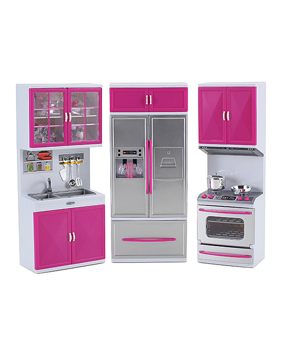 AZ Trading and Import  Doll Accessories  - Refrigerator, Stove & Sink Playset Refrigerator, Stove & Sink Playset. With sound effects and light-up appliances, this modern kitchen is a colorful way for your little ones to get creative with their dolls during playtime. 18'' W x 18'' H x 4'' DPlasticRecommended for ages 3 years and upImported