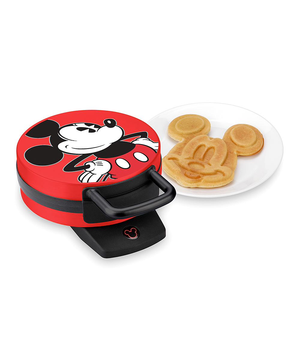 Select Brands  Waffle Makers  - Mickey Mouse Red Round Waffle Maker Mickey Mouse Red Round Waffle Maker. Use this innovative and fun waffle maker to create Mickey Mouse-themed breakfast treats!     12'' W x 5'' H x 9'' DPlastic / metalHand washImportedHand washPlastic/metalImported