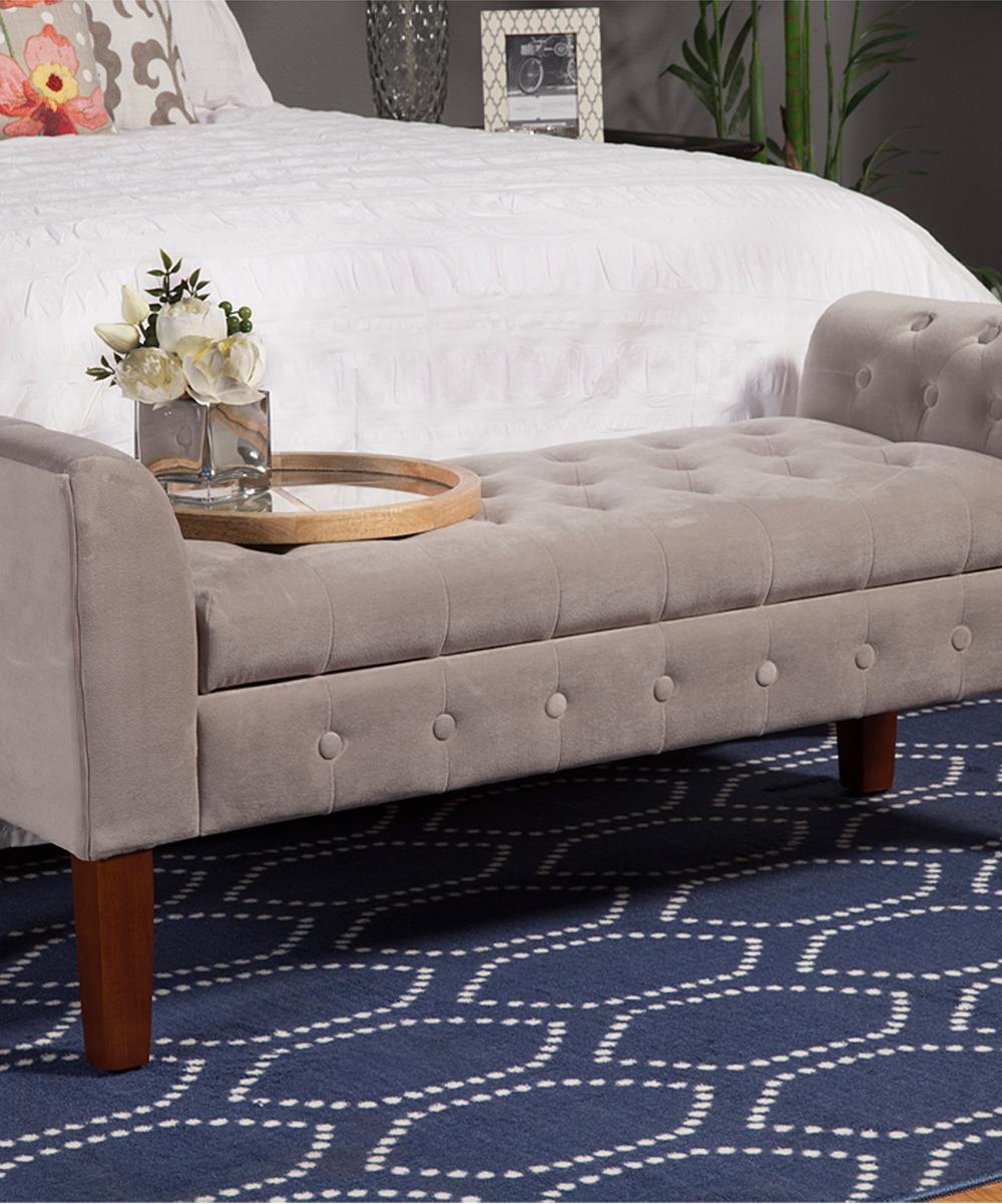 Admirable Homepop Gray Storage Bench Settee Frankydiablos Diy Chair Ideas Frankydiabloscom