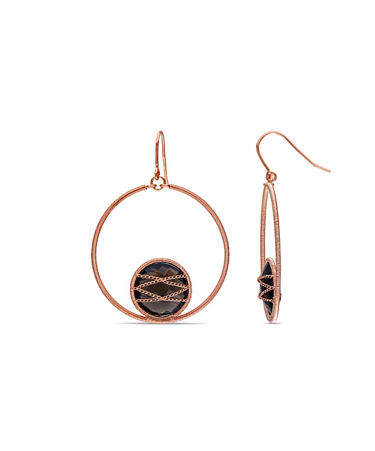 79847f27f all gone. Smoky Quartz & Rose Gold-Plated Drop Hoop Earrings · Womens Brown  ...