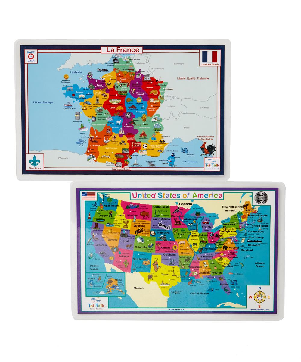 Tot Talk France Usa Map Activity Place Mats Zulily