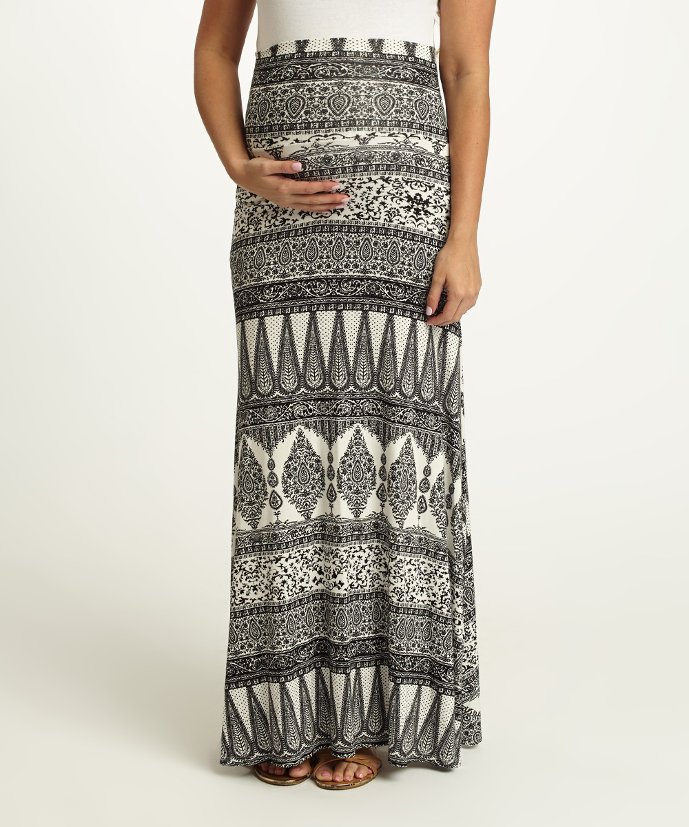 b820303445 love this product PinkBlush Black & White Paisley Maternity Maxi Skirt