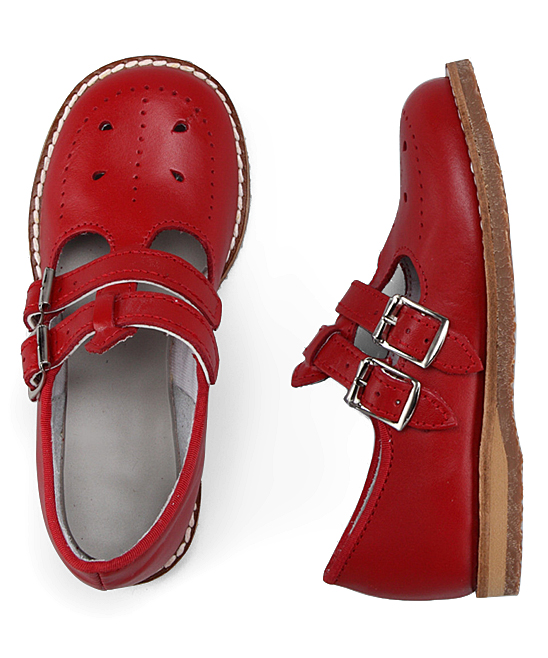17aedf99005d Amilio Red Skipper Leather Double-Buckle Mary Jane - Girls