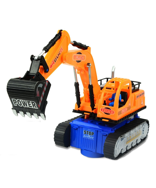Top Race  Remote Control Toys  - Bump & Go Light-Up Toy Excavator