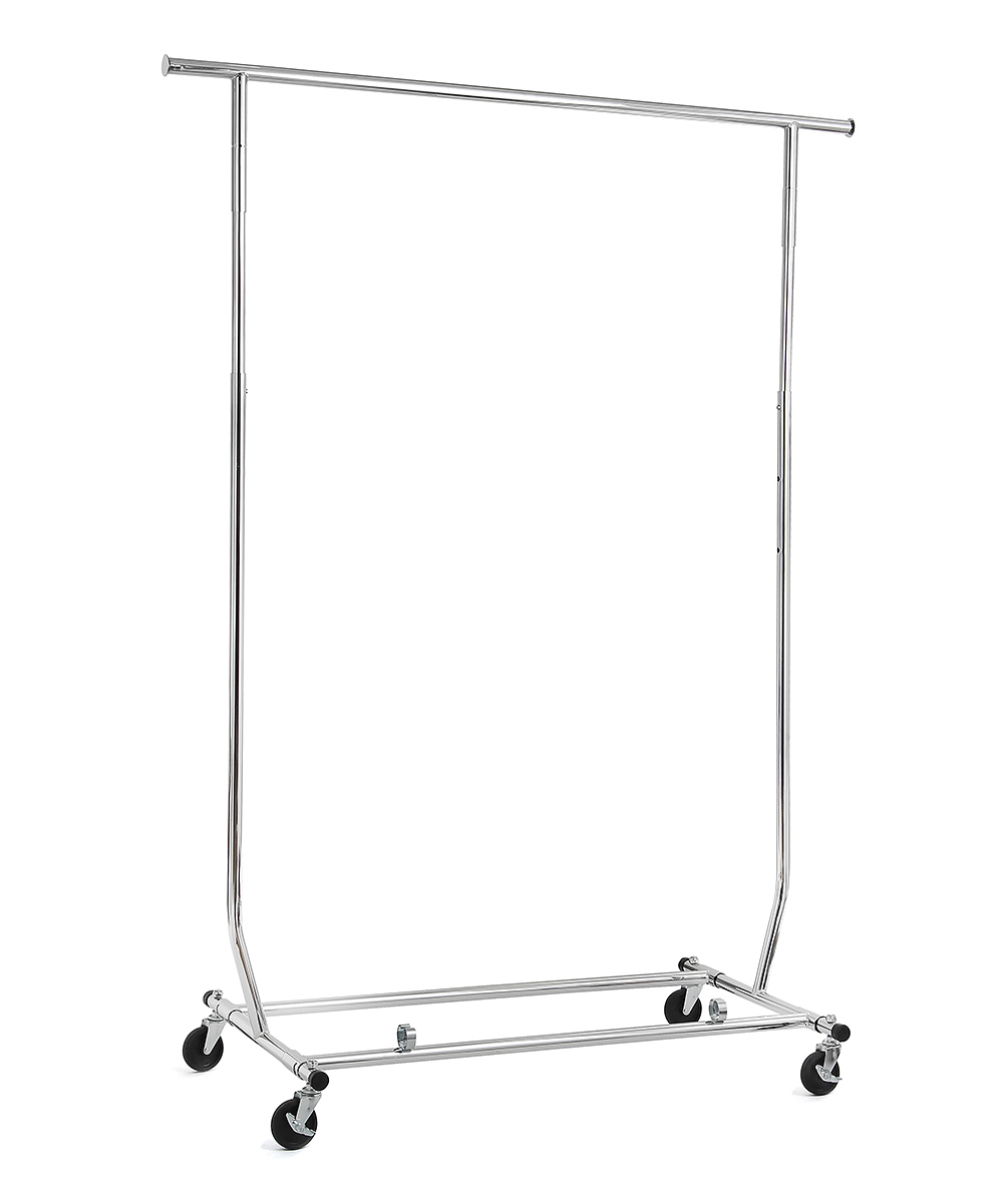 Commercial Grade Single Garment Rack Commercial Grade Single Garment Rack. Easily organize clothing at home with this rolling garment rack. 30'' W x 41'' H x 14'' DMetalImported
