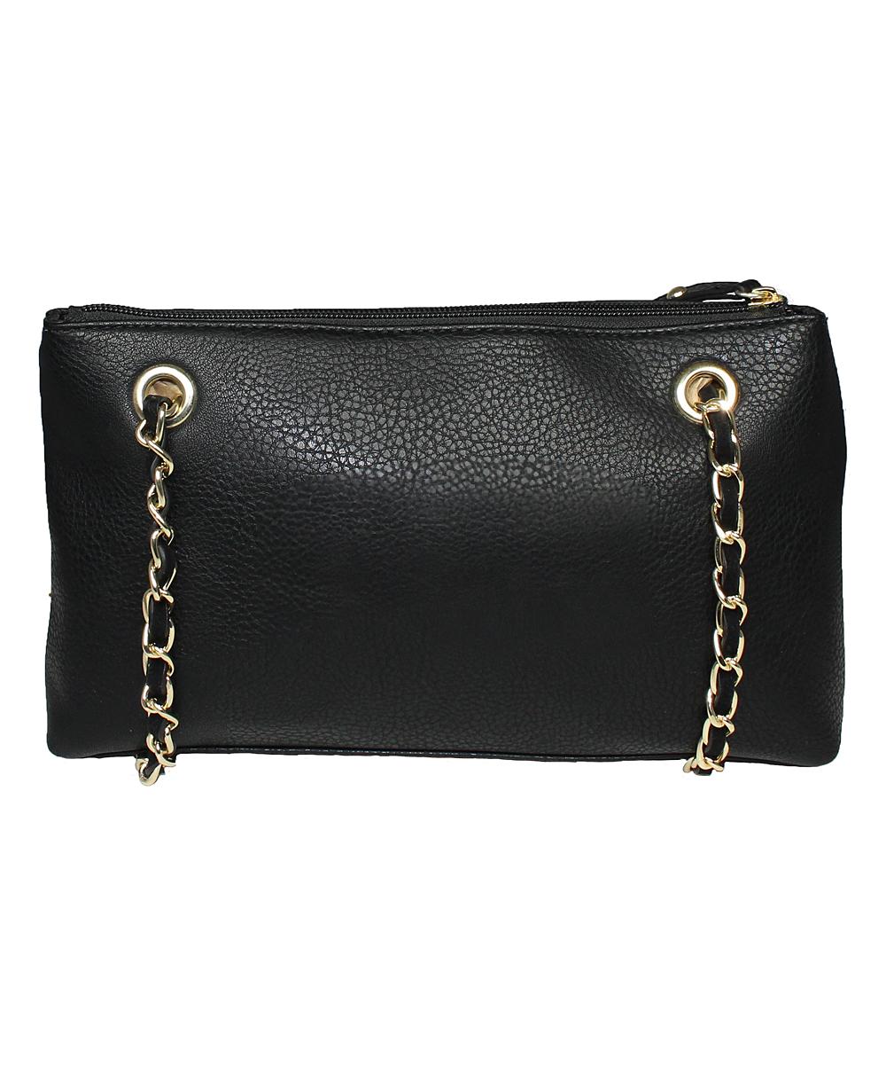 742606c4b11a La Diva Handbags Black Rectangle Chain Crossbody Bag Zulily