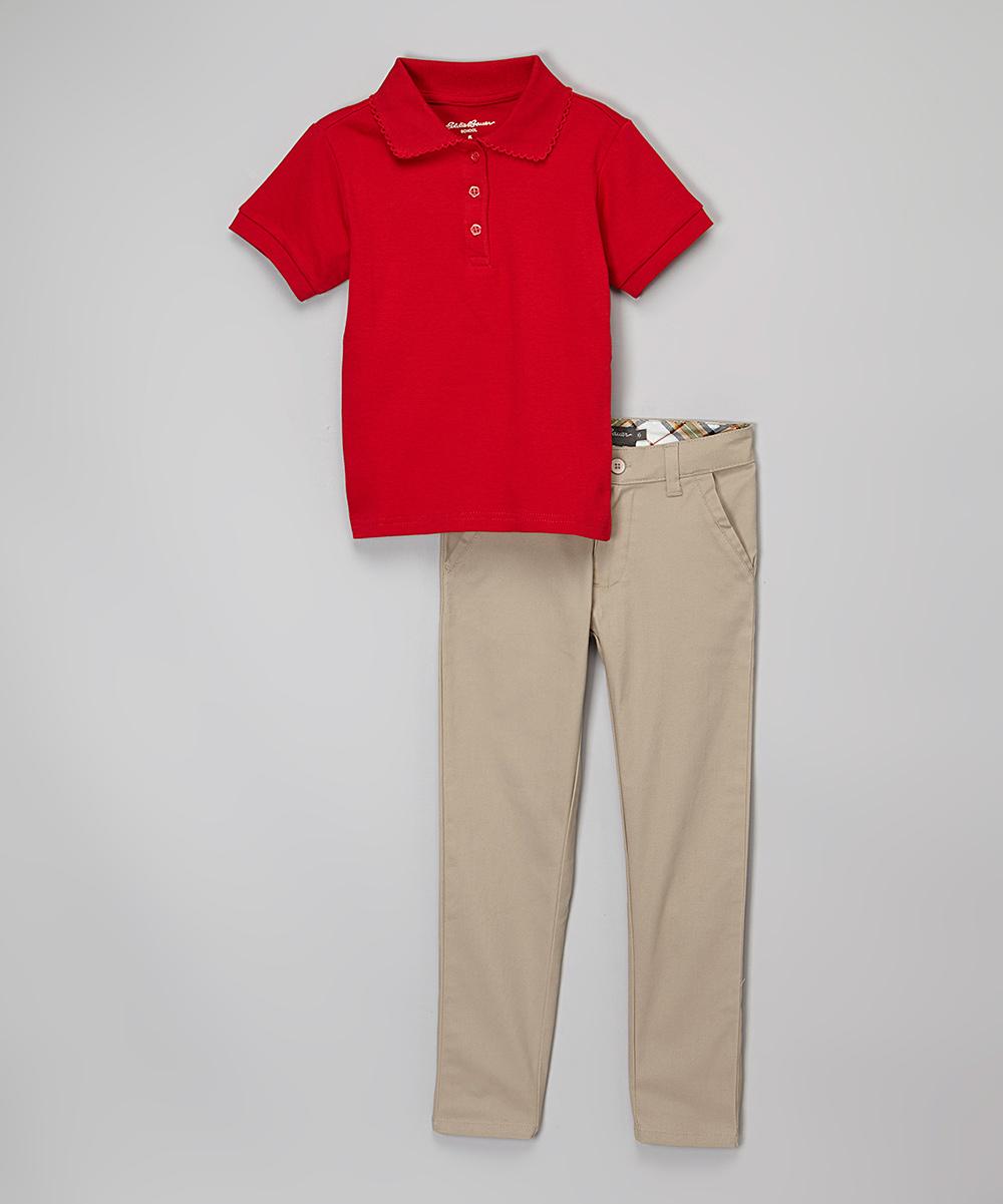 Eddie Bauer Crimson Polo Khaki Pants Girls Zulily