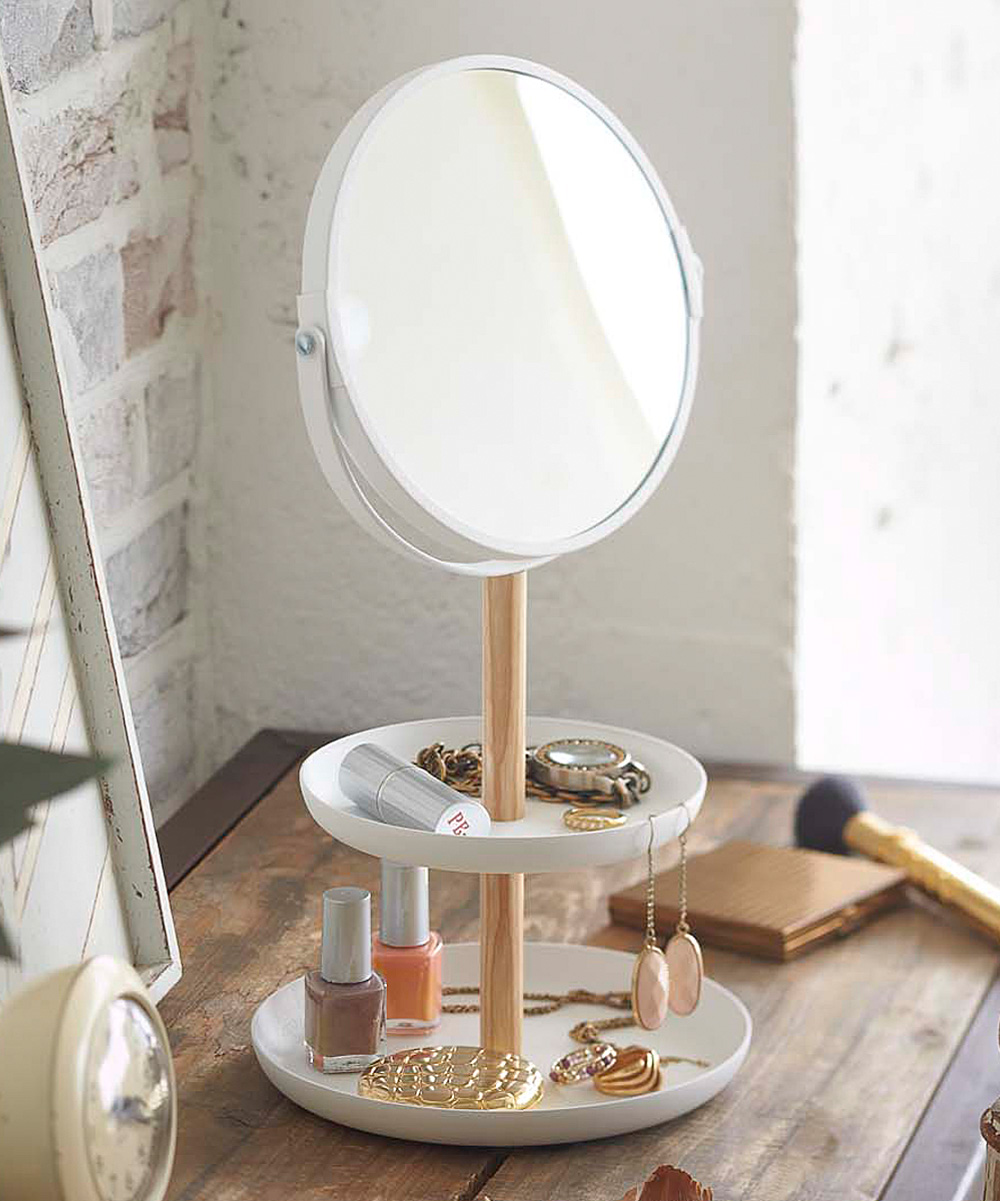 Two-Tier Accessory Display Stand & Mirror Two-Tier Accessory Display Stand & Mirror. Store your favorite jewelry and apply makeup with the help of this tiered display stand and mirror. 6.3'' W x 13'' H x 6.9'' DSteel / wood / glassImported