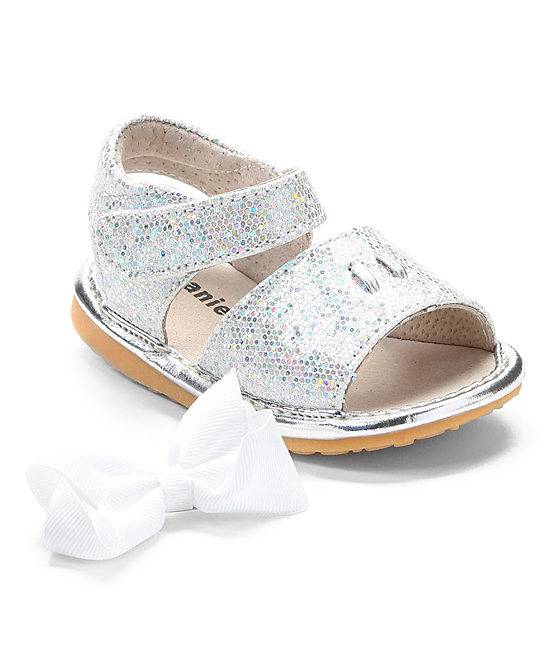 bf044edea5 love this product Silver   White Sparkle Add-a-Bow Squeaker Sandal