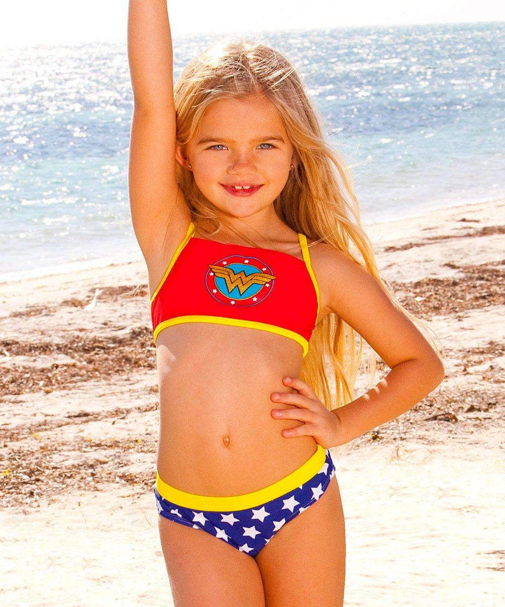 c1ad9f7e27679 Red Wonder Woman Sport Bikini - Girls | Zulily