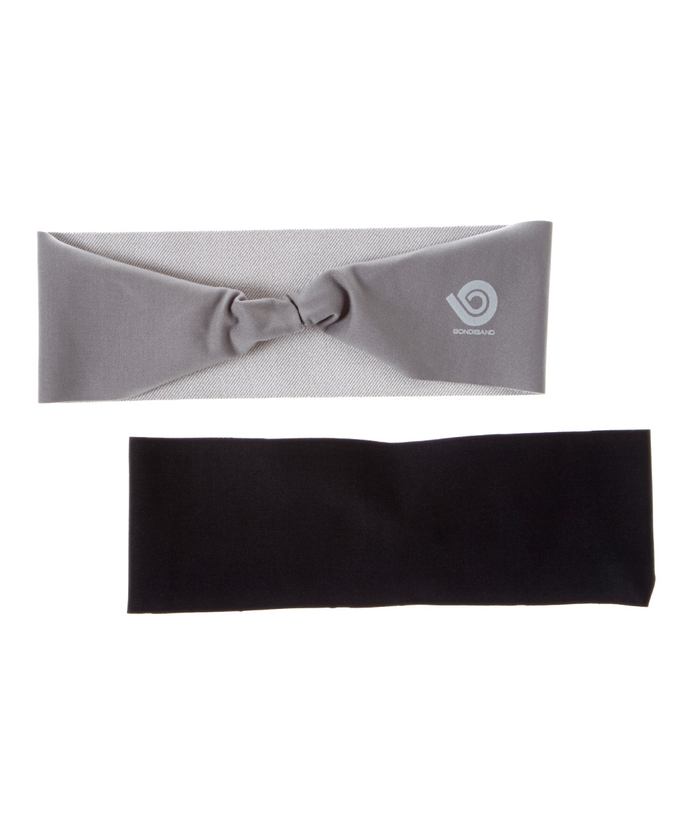 Solid Black & Gray Headband Set