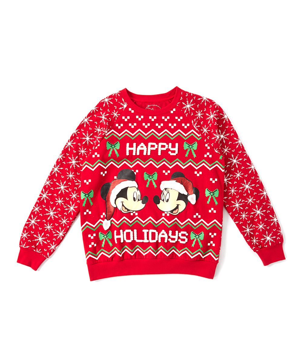 Mickey Mouse Minnie Mouse Mickey Minnie Happy Holidays Sweater