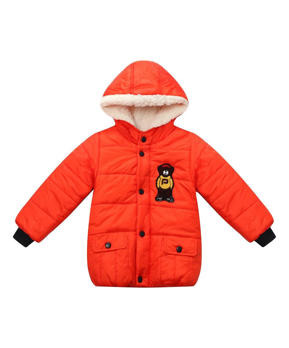 1ec72e9be Richie House Orange Teddy Bear Puffer Coat - Boys