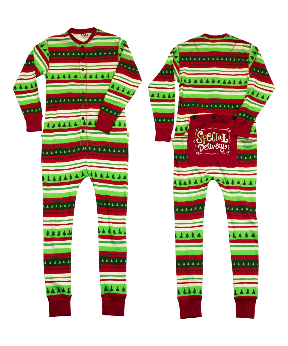 d752d2d921 Lazy One Green   Red special Delivery Flapjack Pajamas - Adult