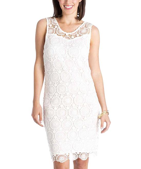 8b16daf25f Mud Pie Cream Mallory Crochet Dress - Women | Zulily