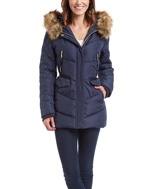 59ac1810e kensie Navy Chevron Faux Fur Hooded Puffer Coat - Women