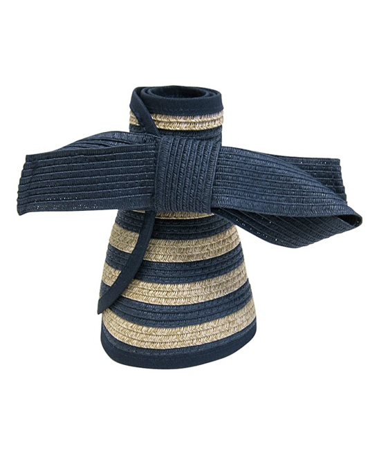 f2bcf937eec0a ... Womens NAVY NATURAL Navy   Natural Nautical Stripe Roll-Up Bow Visor -  Alternate