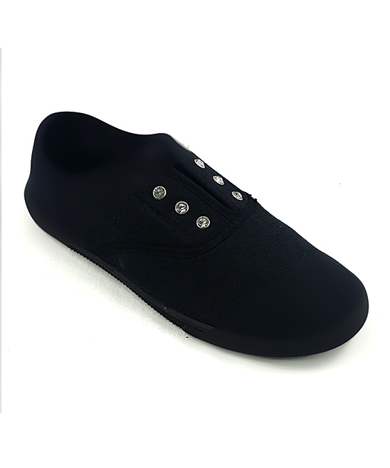 Ositos Shoes Women's Sneakers BLACK - Black Rhinestone Eyelet Slip-On Sneaker - Women
