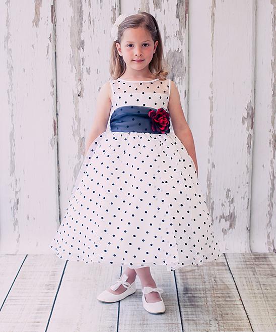 Kids Dream White Black Polka Dot Rose Dress Infant Toddler