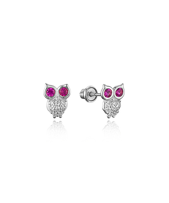 Lovearing Pink Cubic Zirconia Sterling Silver Owl Stud Earrings