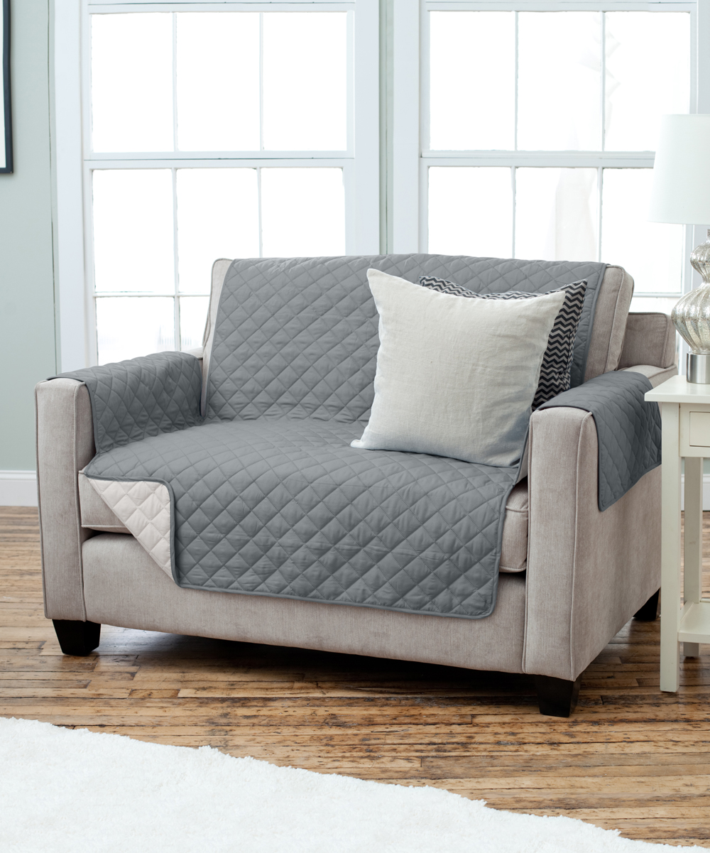 Home Fashion Designs  Indoor Furniture Covers Charcoal - Charcoal & Beige Reversible Furniture Protector