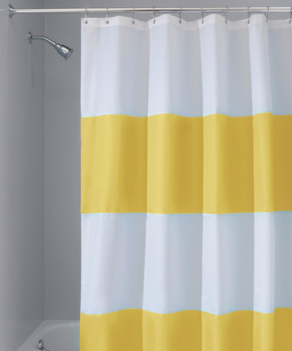 Yellow White Stripe Zeno Shower Curtain
